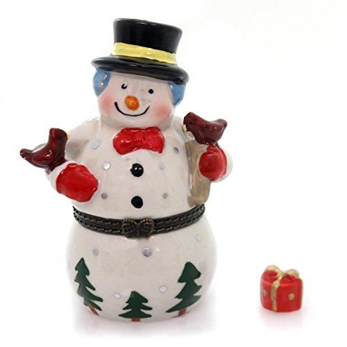 Snowman Hinged Box - Frosty Snowman Winter Wonderland Cardinals Porcelain Hinged Trinket Box
