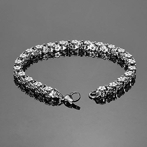 Lindsie-Box - New Stainless Steel Flowers Bracelet Square Chain Bracelet Bangle With Lobster Clasp Women & Men Bracelet Jewelry Gift 20cm
