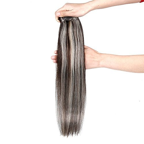 Clip Hair Extension,Grammy 18 Inch 7pcs Remy Clips in Human Hair Extensions 70g with Clips for Highlight (#2/613 Dark Brown Mix Bleach Blonde) (Brown Dark Highlights)