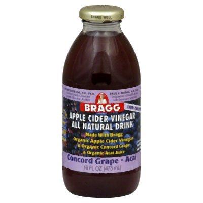 Bragg Organic Concord Grape Acai Apple Cider Vinegar Drink,16 Ounce -- 12 per