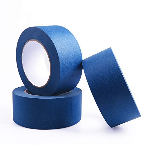 (YOUKOS Painters Tape 2 inch Blue Crepe Paper Multi-Use Automotive Wall Masking Tape 3 Rolls(3 Pack 1.88