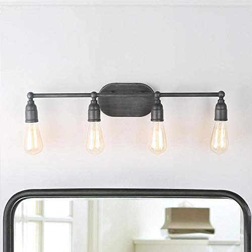 LNC Vanity Wall Sconces 4 Industrial Lighting Fixtures Silver Finishes and E26 Ceramic Lamp Base, UL Listed for Kitchen, Bathroom, Doorway, Barns and Entryway, A03392,