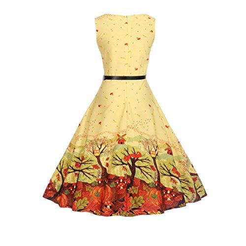 maniche da estivi cerimonia Giallo senza Serata Swing Prom Party Sysnant Stampa da taglie donna donna 2018 Vestiti Dress forti eleganti abito 0vqq8d