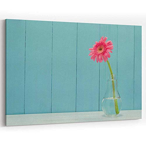 - Actorstion Pink Gerbera Daisy Flower in Bulb Glass vase for Modern Home Decor Stretched-Framed Ready to Hang
