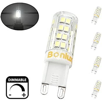 Bonlux Dimmable G9 Led Bulb 40w Equivalent Daylight 6000k G9 Bi Pin Base T4 Xenon Replacement