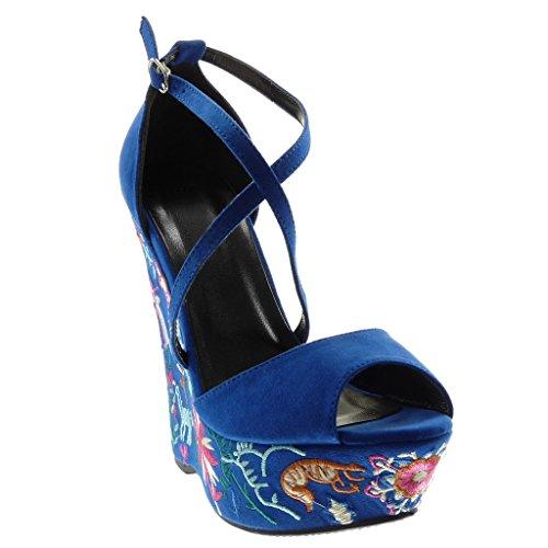 Angkorly Women's Fashion Shoes Sandals Mules - Peep-Toe - Platform - Ankle Strap - Embroidered - Fantasy - Crossed Thongs Wedge Platform 14.5 cm Electric Blue t1u7YrEyU