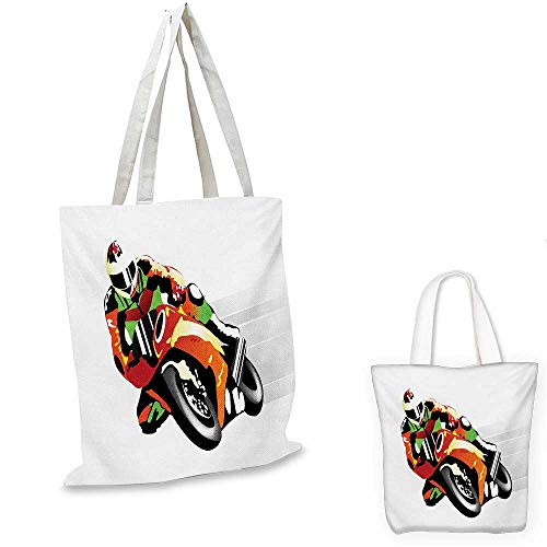 Motorcycle royal shopping bag Retro Art Motorcycle Racer with Headgear Championship Dangerous Extreme Sports funny reusable shopping bag Orange Green. 16