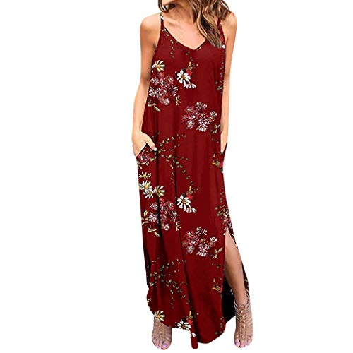 Lljin Women's Sexy V-Neckline Long Dress Bohemian Pocket Sleeveless Strap Dress Red