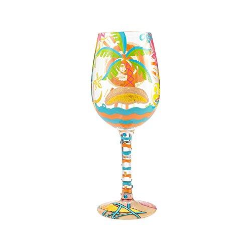 """Enesco 6000021 Designs by Lolita """"Here Comes Summer"""" Wine Glass 15 oz Multicolor"""