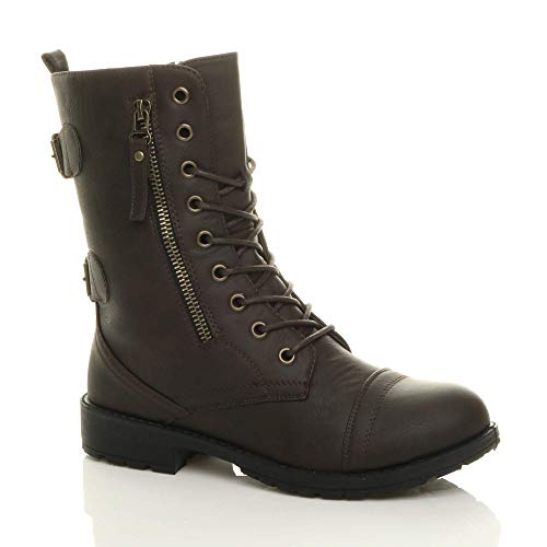 Ajvani Womens Ladies Flat Low Heel lace up Zip Combat Army Military Ankle Boots Size.