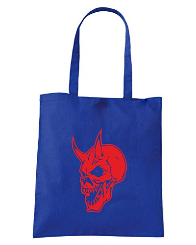 T-Shirtshock - Bolsa para la compra FUN1195 devil skull vinyl decal 17816 Azul Real