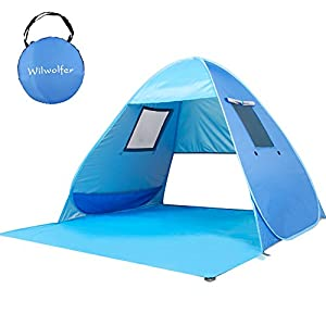 Wilwolfer Beach Tent Pop Up Sun Shelter Plus Cabana Automatic Canopy Shade Portable UV Protection Easy Setup Windproof…