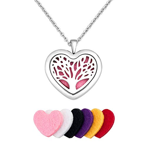 JewelryJo Tree of Life Aromatherapy Essential Oil Diffuser Necklace Women Men Love Heart Locket Pendant