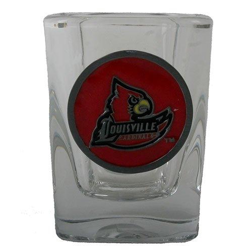 Louisville Cardinals 2oz Square Shot Glass - Team Color Pewter Logo