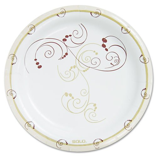 """SOLO Cup Company Symphony Paper Dinnerware, Heavyweight Plate, 9"""", Tan, 125/Pack SCCHP9SJ8001PK"""