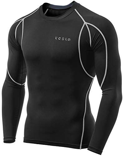 - TM-MUD11-KLG_Large Tesla Men's Long Sleeve T-Shirt Baselayer Cool Dry Compression Top MUD11