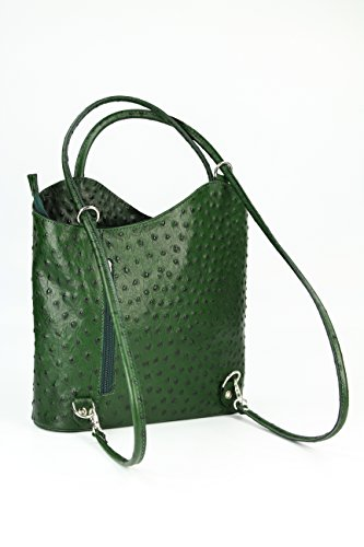 BELLI ital Bolso de piel 2 en 1, para mujer, mochila, bolso de hombro, 28 x 28 x 8 cm (anch. x alt. x prof.) Grün strauss