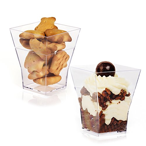 Homeston Elegant Square Mini Cube - Clear Sample Shot Glasses 2oz Plastic Dessert Cups (50) (Decorative Mini Containers compare prices)