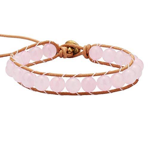 TUMBEELLUWA Stone Beads Bracelet Woven with Leather Cord Bohemian Style Healing Crystal Handmade Jewelry for Women Men,Rose Quartz