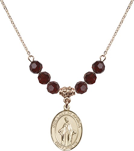 18-Inch Hamilton Gold Plated Necklace with 6mm Garnet Birthstone Beads and Gold Filled Our Lady of Africa Charm. by F A Dumont