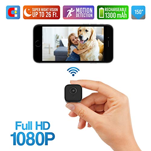 Lilexo Mini WiFi Camera – Wireless Small Home Security Camera with Super Night Vision, Motion Detection, Crisp 1080P HD, Live Streaming, Android/iOS App – Tiny Portable Nanny Cam for Indoor & Outdoor