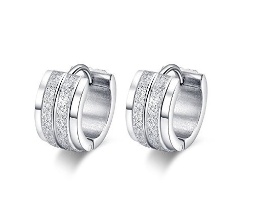 [MG Jewelry Stainless Steel Men Women Unisex Silver-Tone Small Hoop Huggie Earrings,Hypoallergenic,] (His And Her Costumes 2016)