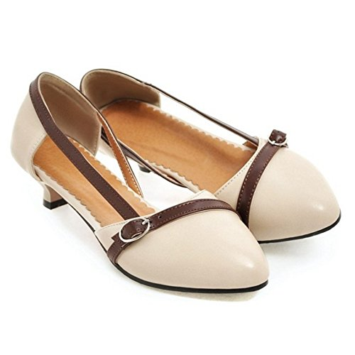 COOLCEPT Mujer Moda sin Cordones D'orsay Sandalias Tacon Poco Cerrado Zapatos Tamano Beige