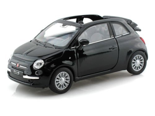 NEW 1:32 DISPLAY WELLY COLLECTION - BLACK 2010 FIAT 500C Diecast Model Car By Welly