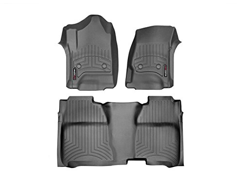 2015 2016 Chevrolet Silverado Crew Cab Weathertech Front And Rear Floor Mat   Liner Set   Black