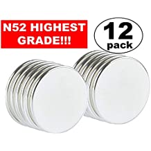 """Strong Magnets Neodymium Rare Earth: N52 Disc Super Permanent Metal Round, 1.26""""DX0.06""""H, Powerful Pull Force, 12 Piece 