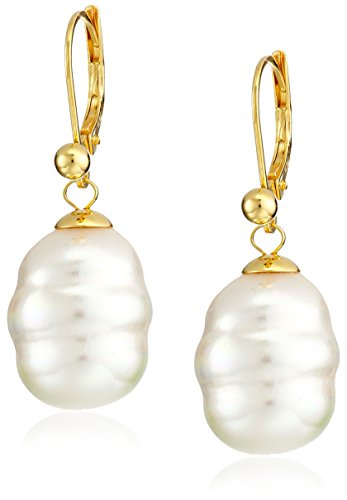 Gold Tone Vermeil Earrings (Majorica 12mm White Baroque Pearl Drop Vermeil Earrings)