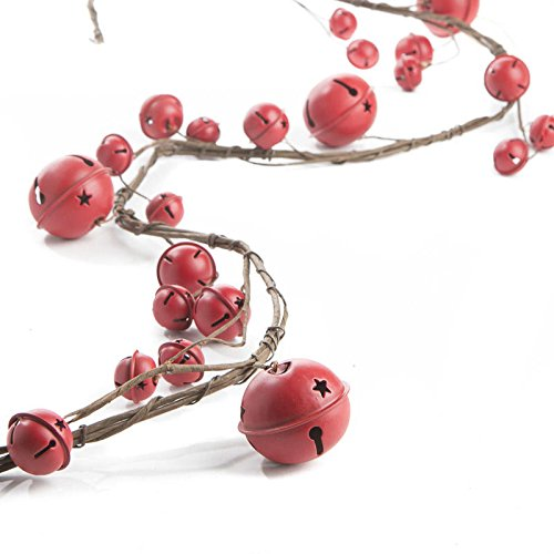 Factory Direct Craft Festive Rustic Red Sleigh Bell Garland for Holiday and Home Decor and Embellishing