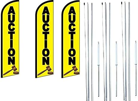 Auto Glass King Windless Swooper Feather Flag Sign Kit With Complete Hybrid Pole set Pack of 3