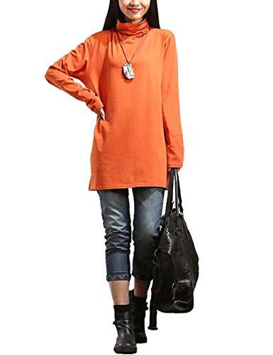 Women's TurtleNeck Tunics Tops Casual Long Sleeve Loose T-Shirt Dress (Orange)