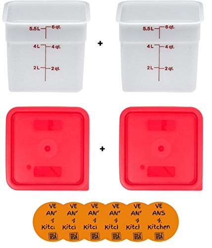 Cambro 6SFSP148 6 Qt. White Poly Food Storage Container (2 pcs) with Cambro SFC6451 Winter Rose Square Polyethylene Lid (2 pcs) - set of 2 w/coasters