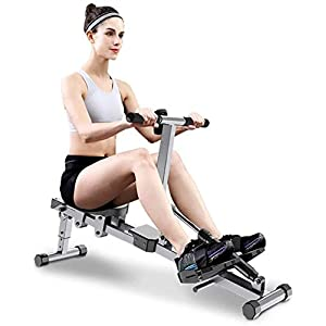 Well-Being-Matters 41izU47fFHL._SS300_ Indoor Foldable Rowing Machine, Adjustable Resistance Monitor Fitness for Gym or Home Use Measures Time, Distance…