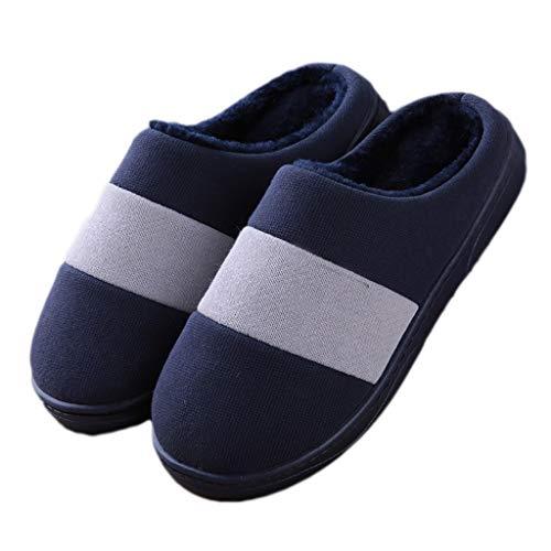 Pantoffeln AMINSHAP Männlichen Winter Indoor Baumwolle Hausschuhe Soft Bottom Rutschfeste Heavy-Bottom Warm Plüsch Hausschuhe Paar (Farbe : Gray, größe : 41-42EU) Blau