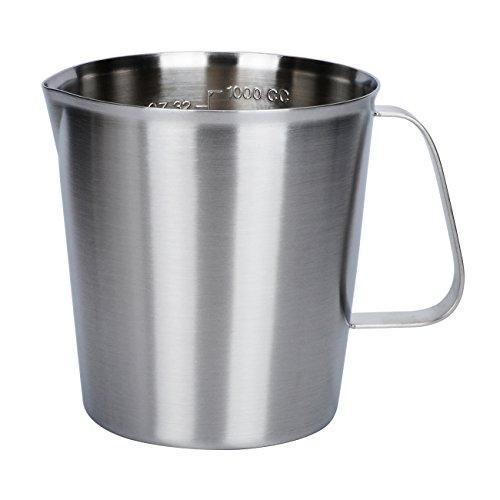 Steel Milk Frothing Pitcher Jug Coffee Foam Measurement Markings in both oz and ml 17oz / 24oz / 34oz / 51oz / 68oz (24 Ounce Milk Pitcher)