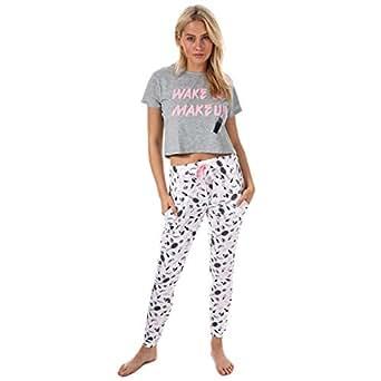 Brave Soul - Pijama - Recta - Animal Print - Clásico - para Mujer Wakeup -Grey Marl Optic White M