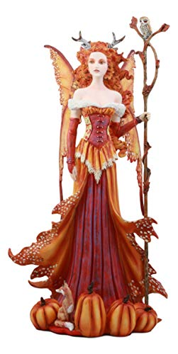 Ebros Amy Brown Pumpkin Queen Autumn Fairy Statue 17.5