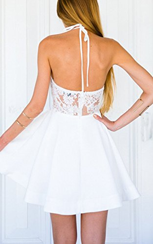 Women's Open White Relipop Floral Back Lace Party Wedding Cocktail Skater Dress gdxq4T