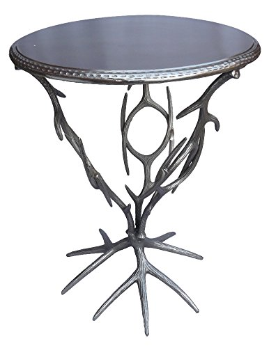 Aluminum Finish Treasure Trove Accents Metal Accent Table with Bird