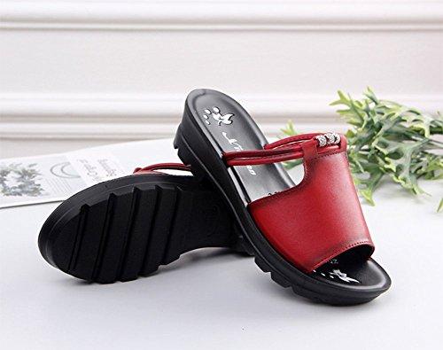 Señoras Inferior Cool weiwei Las Plano Grueso Zapatillas De Fondo Suave Antideslizante Moda Zapatillas Rojo De Verano qwgtF