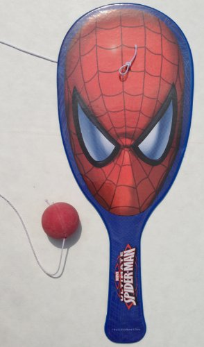 Spiderman Marvel THE AMAZING SPIDER Party Favor PADDLE BALL Set