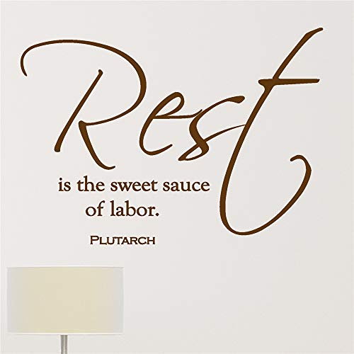 Yunhaa Vinyl Decal Quote Art Wall Sticker Mirror Decal Rest is The Sweet Sauce of Labor for Living Room Bedroom