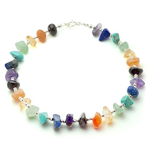 925 Sterling Silver Beads Seven (7) Chakra Natural Gemstones Beaded Anklet Bracelet (Amethyst Beaded Anklet)