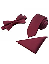 Men's Fashion Polyster Skinny Neck ties and Pre-tied Bowtie Pocket Square 3pcs Set (Burgundy)