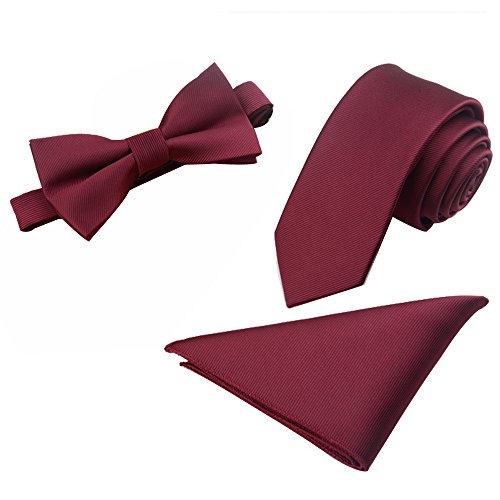 Mens Polyester Skinny 2.4'' Neck Tie Pre-tied Bow Tie Pocket Square/Handkerchief Hankie 3pcs Set (Tie Pocket Hankie Set)