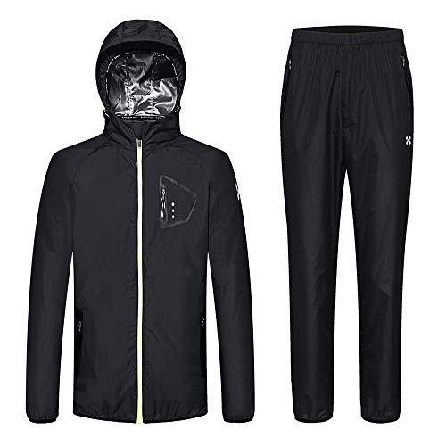 HOTSUIT Sauna Suit Men Weight Loss Anti Rip Sweat Suits Workout Jacket, Black, M