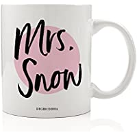 Mrs. Snow Mug, You Know Nothing Jon Snow Fan GOT Winter is Night's Watch Crow House Stark Love Birthday Gift Idea for Her Mom Friend Young Woman 11oz Ceramic Tea Coffee Cup Digibuddha DM0217